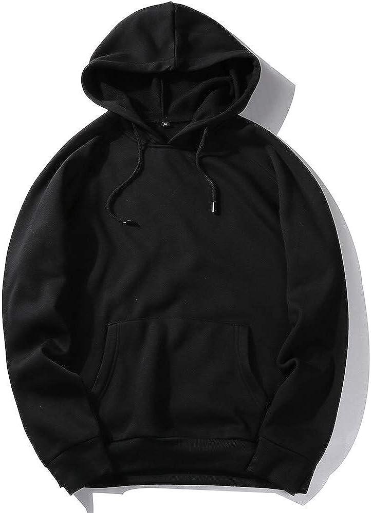 Seaintheson Mens Hoodies,Winter Warm Slim Fit Fleece Pullover Pocket Long Sleeve Hooded Sweatshirt Solid Color Tops Blouse