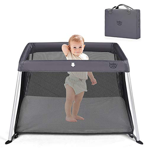 BABY JOY Baby Playpen, Ultra-Light Aluminum Portable Travel Crib with Comfy Mattress Oxford Carry Bag, Dark Gray