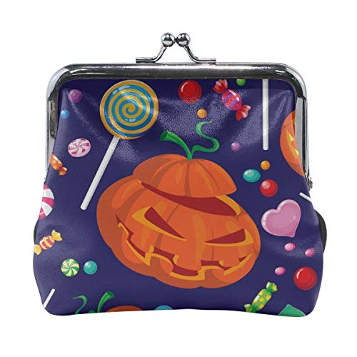 Poream Seamless Halloween Candy Vector Image Love Retro Leather Cute Classic Floral Coin Purse Clutch Pouch Wallet For Girls And Womens -