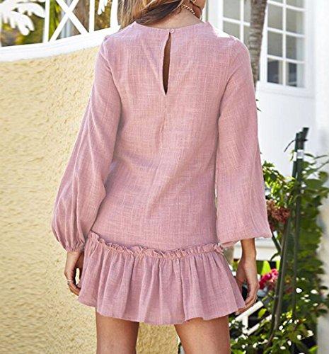 Vestidos Partido Monika Playa Cuello de Primavera Pliegue Fiesta Suelto Moda de Mujeres Mini Larga y Redondo Vestido Manga Casual Otoño FfUraAF