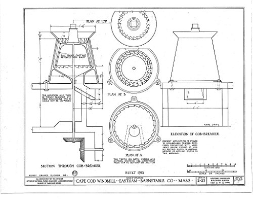 - Historic Pictoric Blueprint Diagram HABS Mass,1-East,1- (Sheet 5 of 5) - Cape Cod Windmill, Samoset Road (Moved from Plymouth to Truro to Eastham, MA), Eastham, Barnstable County, MA 14in x 11in