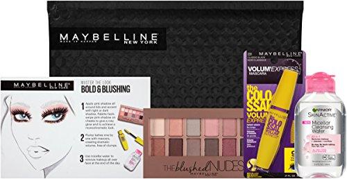 Maybelline New York NY Minute Makeup Kit Eyeshadow Mascara, Bold & Blushing Makeup Remover Kit