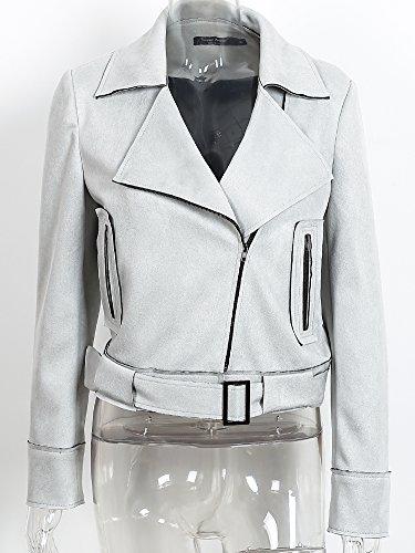 Abbigliamento Zip Delle Camoscio Colture Jacket Simplee Grigio Delle Biker Fino Donne Ecopelle Cappotto qwIIRfE