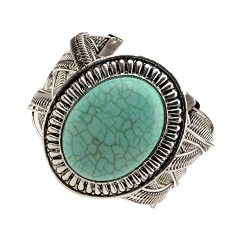 Coogain Cuff Bracelet, Artificial Turquoise Bangle Bracelets Oval, Vintage Turquoise Bracelets