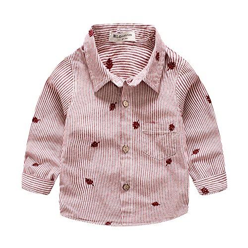 Soda Park Boys Long Sleeve Vertical Stripes Dress Shirt Red (Soda Stripe Shirt)