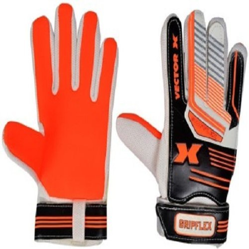 Vector X Gripflex Goalkeeping Gloves (White, Black, Orange) Football Goalkeeper Gloves at amazon