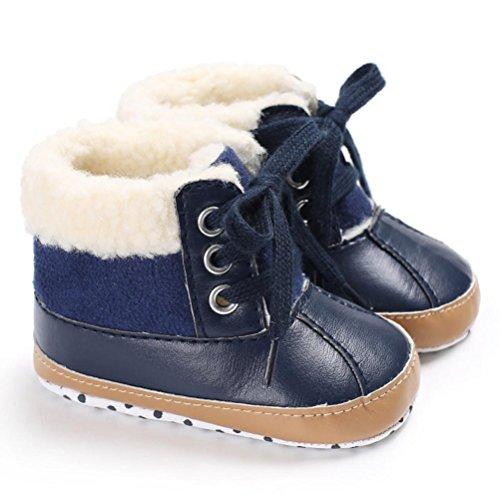 Igemy 1 Paar Baby Schuhe Mädchen Jungen Soft Sole Leder Snow Warm Crib Anti-Rutsch Kleinkind Stiefel Blau