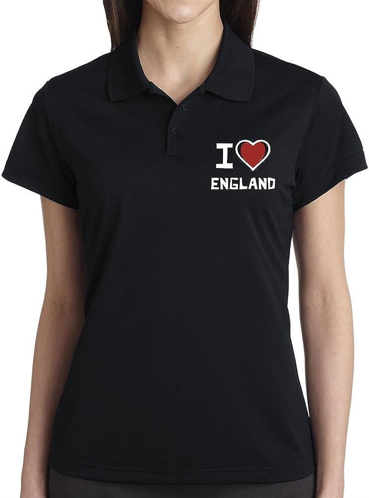 I Love Inglaterra Mujer Polo de manga corta Negro negro XXX-Large ...