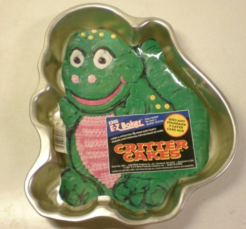GS EZ Baker Cake Pan ~ Dinosaur Critter Metal Mold ~ Easy to Decorate Like Barney