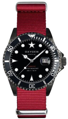 Oxygen EX-D-MBB-40-RE - Reloj analógico de Cuarzo Unisex, Correa de Nailon Color Rojo (Agujas luminiscentes)
