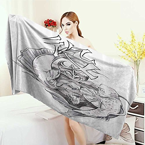 Yoga Mat Towel Tattoo Decor Ancient Tribal Unicorn Icon with Human Face and Koi Fish Chinese Dragon Art Highly Absorbent Bath Towel 55