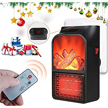 Plug In Heater, 900W Mini Heater Fan, Small Space Heater with Thermostat 12H Timer Remote Overheat Protection 180° Rotary, Electric Fireplace Flame Heater for Bedroom Bathroom Office Home Indoor Use
