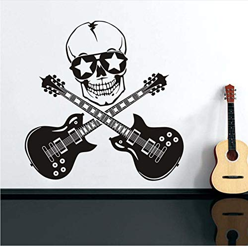 Sdefw Wall Stickers Cool Design Funny Skull and Guitar Wall Stickers for Boys Room Guitar Rock Silhouette Vinyl Wall Art Decals Home -