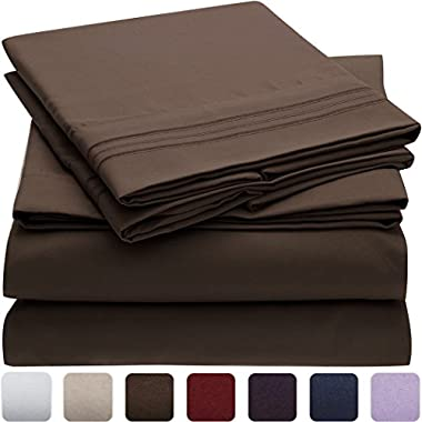 Mellanni Bed Sheet Set - HIGHEST QUALITY Brushed Microfiber 1800 Bedding - Wrinkle, Fade, Stain Resistant - Hypoallergenic - 4 Piece (Queen, Brown)