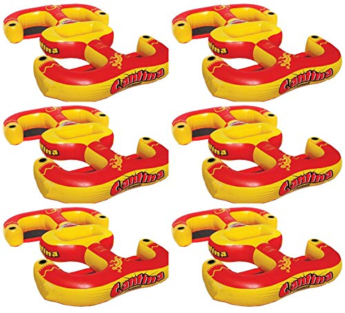 (MRT SUPPLY Cantina Lounger 4-Person Inflatable Pool Beach Lake Raft (6 Pack) with Ebook)