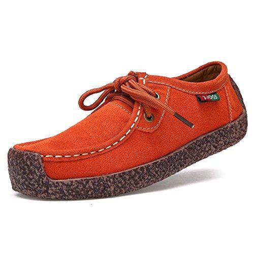 O&N Women Girls Casual Lace Up Flat Shoes Fashion Sneakers Outdoor Sport Shoe Orange