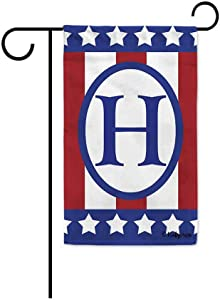KafePross 4Th of July US Decorative Garden Flag Monogram Initial Letter H Decor Patriotic Banner 12.5X18 Inch Print Double Sided