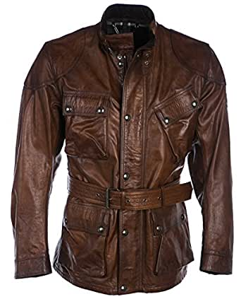 Belstaff Men's Leather Panther Jacket Cognac 40