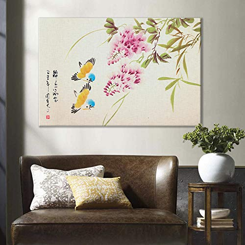 of Birds and Pink Flower Oriental Style