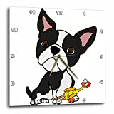 3dRose All Smiles Art Pets - Funny Cute Boston Terrier Puppy Dog with Rubber Chicken Toy - 10x10 Wall Clock (dpp_260973_1)