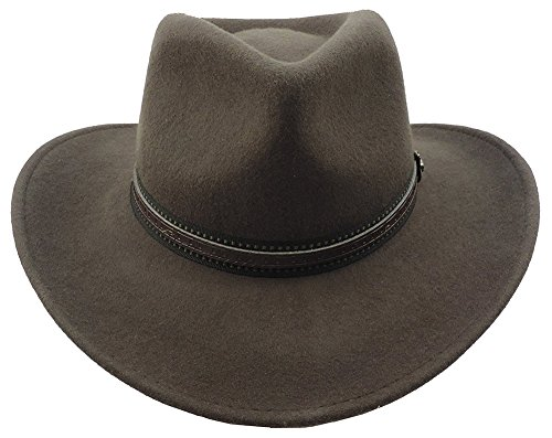 (Scala Outback Crushable Wool Felt Hat With Faux Leather Hatband Brown XL)