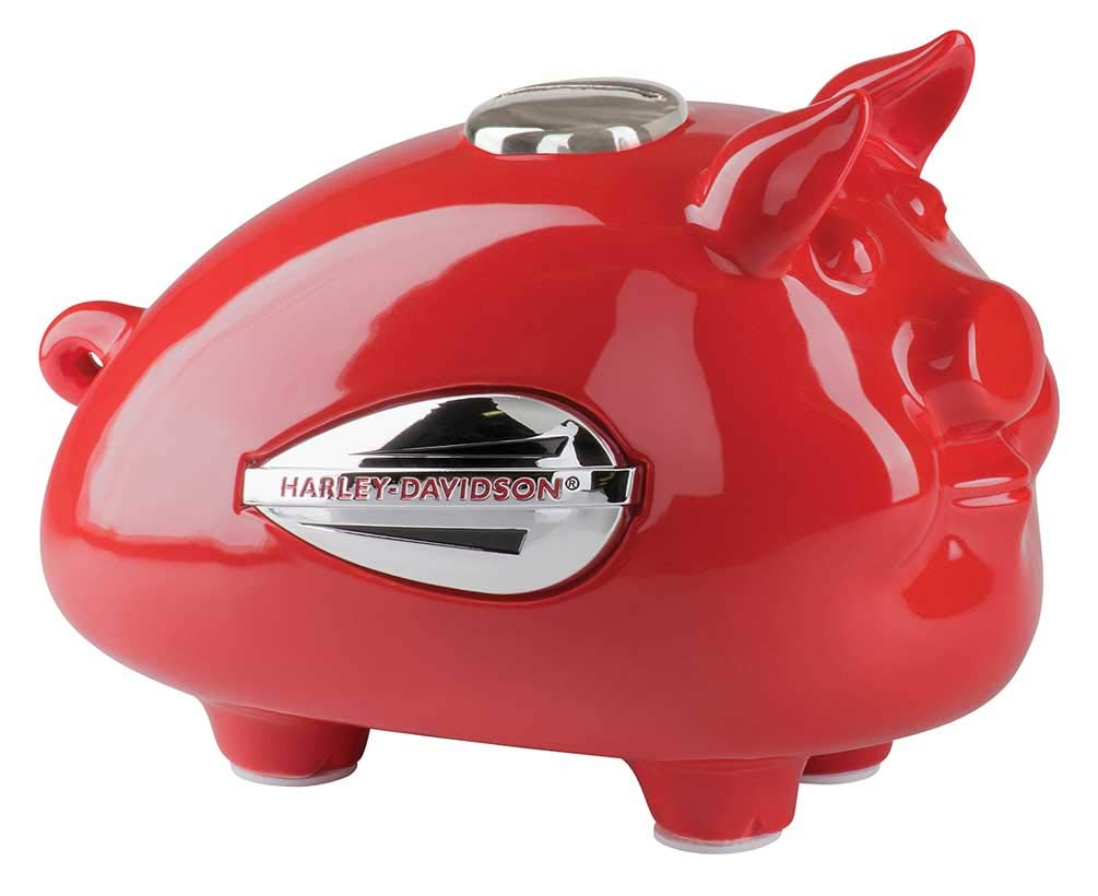 Red HDX-99140 Harley-Davidson 1940s Tank Graphic Medium Ceramic Hog Bank