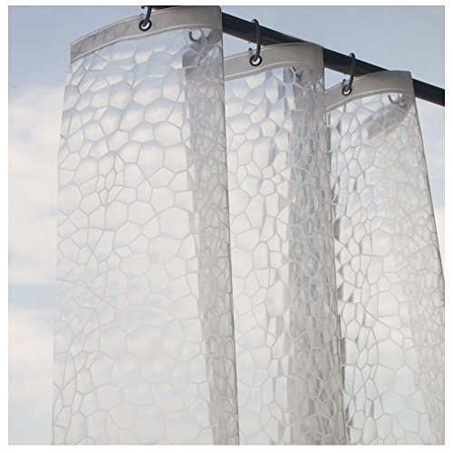 Eforcurtain Small Width Size 3D Cube Clear Shower Curtain 36 by 72 Inches, Semi-Transparent Eco Friendly EVA Shower Curtain Liner Waterproof for Hotels