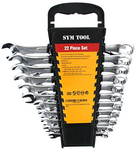 Wrench Set, 22 Piece, Combo Set SAE and Metric By SYM (15 Piece Chrome Angle Wrench)