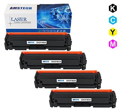 Amstech 4 Packs 201X CF400X CF401X CF402X CF403X Toner Cartridge Compatible High Yield Toner Cartridge Replacement for Laserjet Pro MFP M277dw M252dw M277c6 Printer ( Black, Cyan, Magenta, Yellow )