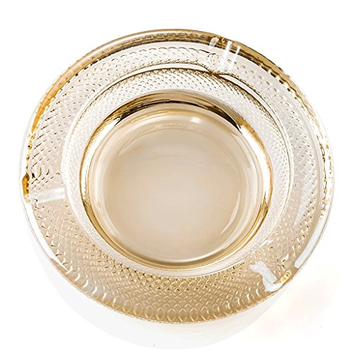 Hongyan Ashtray Decorative Ashtray Living Room Gift Family Living Room Office Outdoor Multifunctional Practical Transparent Φ18.5 H4.5 Cm Golden Large A+ -