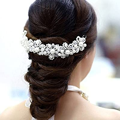 Voberry®new Arrival Hair White Pearl Crystal Bride Headdress By Hand Wedding Dress Accessories Bridal Hair Jewelry