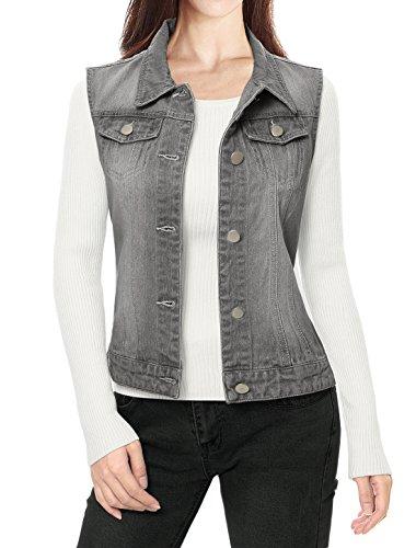 Allegra K Women's Buttoned Washed Denim Vest w Flap Pockets XS Grey