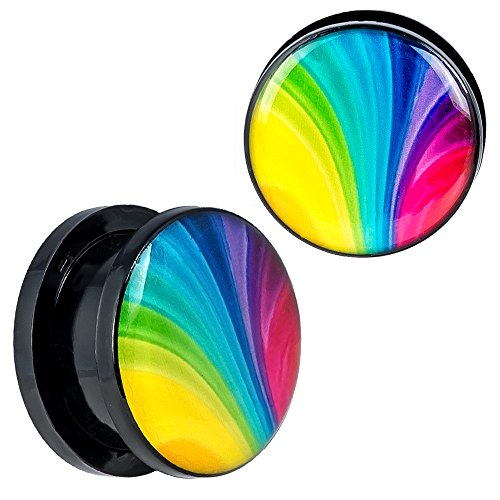 (New Arrival - Screw Fit Black Acrylic Rainbow Color Design Ear Plugs -)