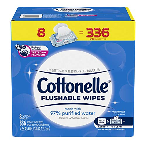 Cottonelle Freshcare Flushable Wet wipes, alcohol-free, Hypoallergenic, 8 Packs Of 42 Wipes 336 count