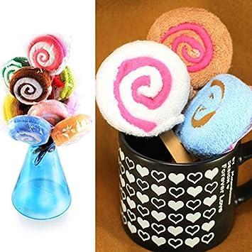 Majome Lollipop Shape Toalla Fibra Toalla Regalo Baby Shower Presente Nupcial Adorno Favor del banquete de boda: Amazon.es: Deportes y aire libre