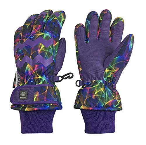 (N'Ice Caps Girls Ombre Shaded Waterproof Thinsulate Winter Snow Ski Gloves (Purple Multi Laser, 10-12yrs))