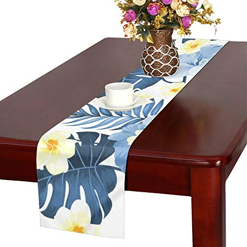 WHIOFE Tropical Flower Tropical Plumeria Blue Table Runner, Kitchen Dining Table Runner 16 X 72 Inch for Dinner Parties, Events, Decor
