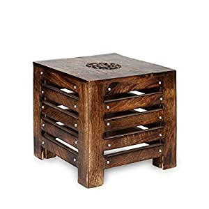 Artesia Solid Wood Hand Carved Side Table/ End Table