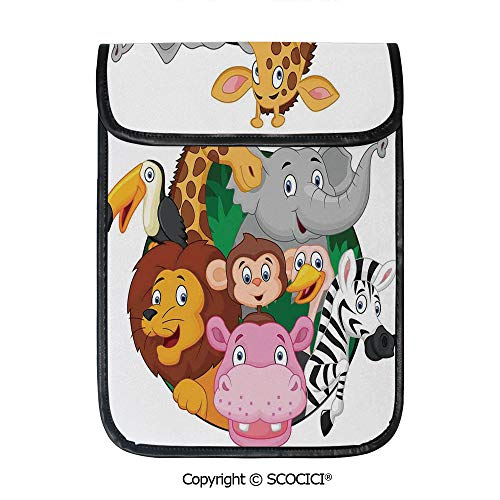 SCOCICI Tablet Sleeve Bag Case,Exotic Safari Animals All Together Comic Creature with and Elephant Friend Trek Sketch,Pouch Cover Cases for iPad Pro 12.9 in and Any Tablet