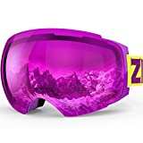 ZIONOR Lagopus X4 Ski Snowboard Goggles Anti-fog Magnet Lens-swapping Tech 100% UV400 Protection Smooth Air-flow Panoramic View Adjustable Strap for Skiing Snowboarding Unisex