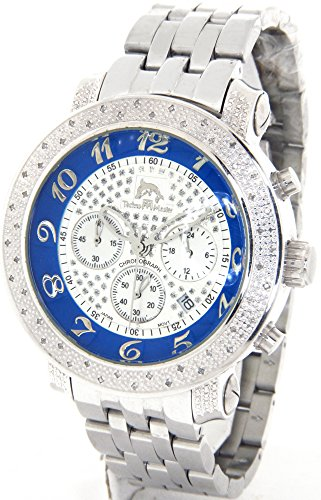 Mens Techno Master .65ct Genuine Diamonds Watch Silver Case Steel Metal Band #TMX-2108-E