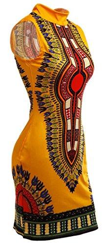 Mini Stand Bodycon African Print Dress Women's Club Yellow Domple Collar Dashiki Baw88q