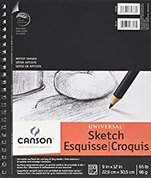 Canson 9-Inch by 12-Inch Universal Sketch Book, 100-Sheet, 2-Pack