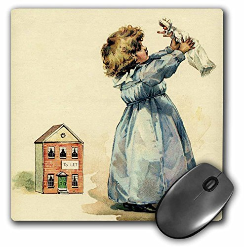 Price comparison product image 3dRose LLC 8 x 8 x 0.25 Inches Mouse Pad, Adorable Girl with Doll and Dollhouse (mp_41726_1)