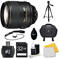 Nikon AF-S NIKKOR 105mm f/1.4E ED Lens. 32GB Card, and Accessories Bundle - Includes Lens, Memory Card, Card Reader, Bag, Tripod, Cap Keeper, Dust Blower, Cleaning Kit, and Cleaning Cloth