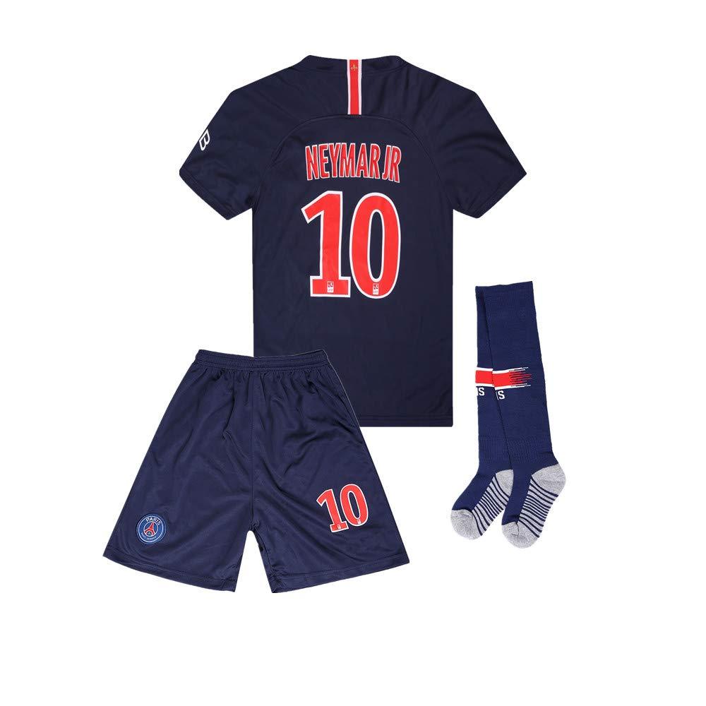 #10 Neymar Jr (PSG) Kids/Youth Home Soccer Jersey & Shorts & Socks Set Blue