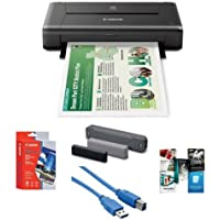 Canon PIXMA iP110 Wireless Mobile Inkjet Color Photo Printer, - Bundle With Canon LK62 Portable Battery Kit, Canon Matte Photo Paper (4x6) 20 Sheets, USB 3.0 Cable, Software Package