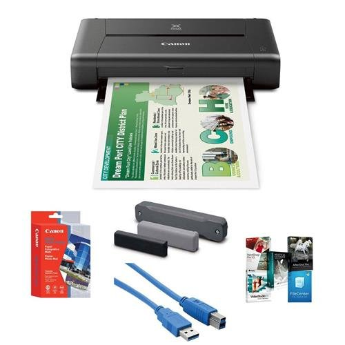 "Canon PIXMA iP110 Wireless Mobile Inkjet Color Photo Printer, - Bundle With Canon LK62 Portable Battery Kit, Canon Matte Photo Paper (4x6"") 20 Sheets, USB 3.0 Cable, Software Package"