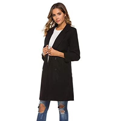 Milky Way Women's Double Breasted Woollen Coat Cloth Long Jacket Overcoat Cuffs Trench Outerwear Pea Wallker Coat Outwear: Clothing