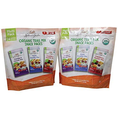 Nature's Garden Organic Trail Mix Snack Packs, Multi Pack 1.2 oz - Pack of 96 (Total 115.2 oz)